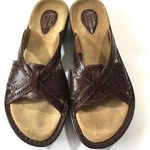 Clarks Dark Leather Braided Open Toe Sandals